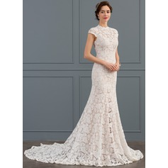 Trumpet/Mermaid High Neck Chapel Train Lace Wedding Dress