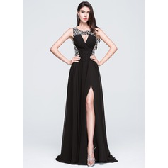 A-Line/Princess Scoop Neck Sweep Train Chiffon Prom Dress With Beading Sequins Split Front