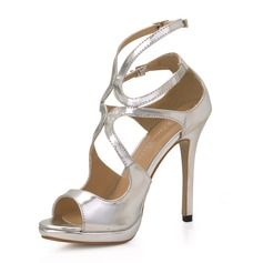Women's Patent Leather Stiletto Heel Sandals Platform Peep Toe shoes