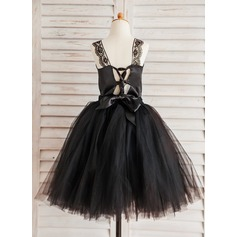 A-Line/Princess Knee-length Flower Girl Dress - Tulle Sleeveless Straps With Lace