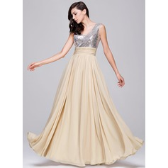A-Line/Princess V-neck Floor-Length Chiffon Sequined Prom Dress With Ruffle