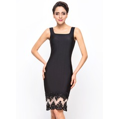 Sheath/Column Knee-Length Jersey Cocktail Dress With Beading Appliques Lace Sequins