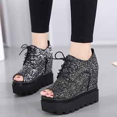 Women's Sparkling Glitter Wedge Heel Platform Wedges Peep Toe Ankle Boots With Sparkling Glitter Braided Strap shoes