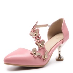 Women's Leatherette Stiletto Heel Sandals Pumps Closed Toe With Rivet Flower shoes