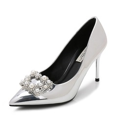 Women's Patent Leather Stiletto Heel Pumps Closed Toe With Rhinestone Imitation Pearl shoes