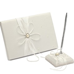 """Eternity"" Faux Pearl/Ribbons/Rhinestones Guestbook & Pen Set"