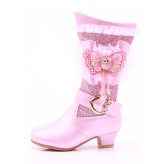 Girl's Round Toe Closed Toe Mid-Calf Boots Leatherette Low Heel Boots Flower Girl Shoes With Buckle Stitching Lace Pearl