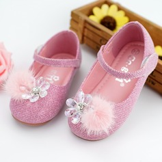 Girl's Round Toe Ballet Flat Leatherette Flat Heel Flats Flower Girl Shoes With Rhinestone Velcro pompom