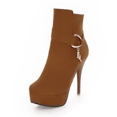 Femmes Suède Talon stiletto Bottes Bottines avec Boucle chaussures
