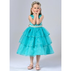 Ball Gown Knee-length Flower Girl Dress - Tulle/Polyester Sleeveless Scoop Neck With Sash/Beading