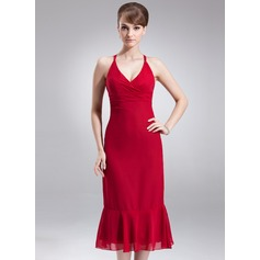 Empire V-neck Tea-Length Chiffon Bridesmaid Dress With Ruffle Bow(s)