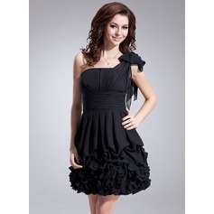 A-Line/Princess One-Shoulder Short/Mini Chiffon Homecoming Dress With Ruffle Bow(s)