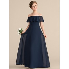 A-Line/Princess Off-the-Shoulder Floor-Length Chiffon Junior Bridesmaid Dress With Cascading Ruffles (009165021)