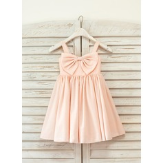 Empire Knee-length Flower Girl Dress - Cotton Sleeveless Straps With Bow(s)
