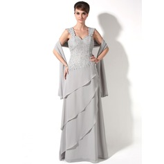 A-Line/Princess Sweetheart Floor-Length Chiffon Mother of the Bride Dress With Beading Cascading Ruffles