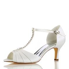 Women's Silk Like Satin Stiletto Heel Peep Toe Sandals With Ruffles Crystal