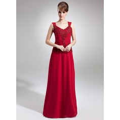 A-Line/Princess V-neck Floor-Length Chiffon Mother of the Bride Dress With Lace Beading Sequins