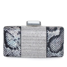 Unique Stainless Steel/PU With Rhinestone Clutches