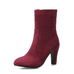 Women's Suede Chunky Heel Pumps Mid-Calf Boots With Zipper shoes