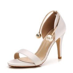 Women's Satin Stiletto Heel Sandals Pumps Peep Toe With Imitation Pearl shoes