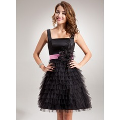 A-Line/Princess Square Neckline Short/Mini Charmeuse Tulle Homecoming Dress With Sash Appliques Lace Flower(s) Cascading Ruffles
