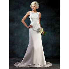 A-Line/Princess Scoop Neck Court Train Satin Wedding Dress With Lace Beading Sequins