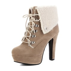 Women's Suede Stiletto Heel Pumps Platform Ankle Boots With Lace-up shoes