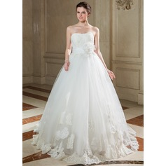 Ball-Gown Sweetheart Sweep Train Taffeta Tulle Wedding Dress With Ruffle Lace Beading Sequins
