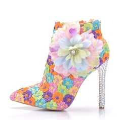 Women's Lace Leatherette Stiletto Heel Boots Pumps With Satin Flower Crystal Heel Applique