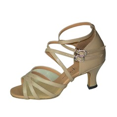Women's Patent Leather Heels Sandals Latin Salsa With Ankle Strap Dance Shoes