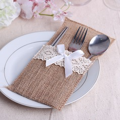 Simple Linen Cutlery Bag With Ribbons