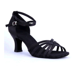 Women's Satin Sandals Latin With Ankle Strap Hollow-out Dance Shoes