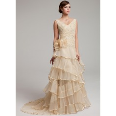 A-Line/Princess V-neck Sweep Train Organza Wedding Dress With Lace Beading Flower(s) Cascading Ruffles Pleated