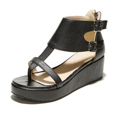 Leatherette Wedge Heel Sandals Platform With Buckle Zipper shoes (087065069)