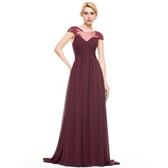 Empire Scoop Neck Sweep Train Chiffon Evening Dress With Ruffle Beading Appliques Lace Sequins