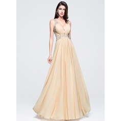 A-Line/Princess V-neck Floor-Length Chiffon Prom Dress With Beading Appliques Lace Sequins
