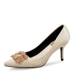Women's Silk Like Satin Stiletto Heel Pumps Closed Toe With Rhinestone Buckle shoes