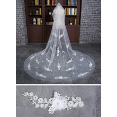 Two-tier Cut Edge Cathedral Bridal Veils With Applique/Lace