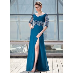A-Line/Princess V-neck Floor-Length Chiffon Mother of the Bride Dress With Ruffle Beading Flower(s) Split Front