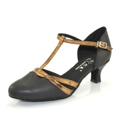 Women's Real Leather Heels Pumps Modern With T-Strap Dance Shoes