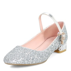 Women's Sparkling Glitter Chunky Heel Pumps Closed Toe Mary Jane With Sequin shoes