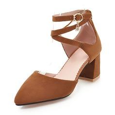 Donna Camoscio Tacco spesso Stiletto con Fibbia scarpe