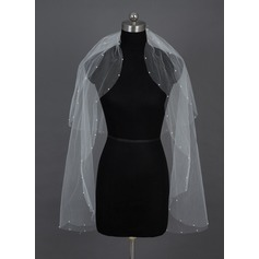 Two-tier Fingertip Bridal Veils With Cut Edge/Pearl Trim Edge