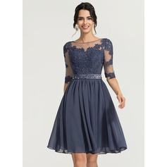 A-Line/Princess Scoop Neck Knee-Length Chiffon Cocktail Dress With Beading (016170901)
