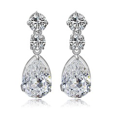 Charming Copper/Zircon/Platinum Plated Ladies' Earrings