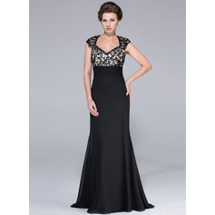Empire Sweetheart Sweep Train Chiffon Mother of the Bride Dress With Beading