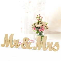 """Mr. & Mrs."" Delicado Madera Accesorios decorativos"