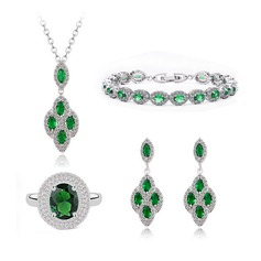 Charming Copper/Zircon/Platinum Plated Ladies' Jewelry Sets