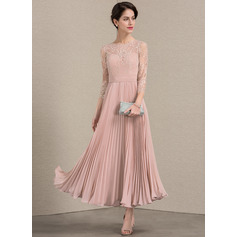 A-Line/Princess Scoop Neck Ankle-Length Chiffon Lace Mother of the Bride Dress With Pleated (008143377)