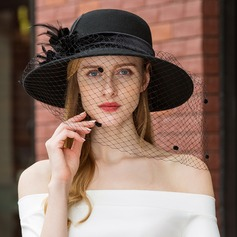 Ladies' Classic/Unique/Simple Wool With Feather/Tulle Floppy Hat